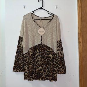 NWT Saints & Hearts cheetah print long sleeve 3XL